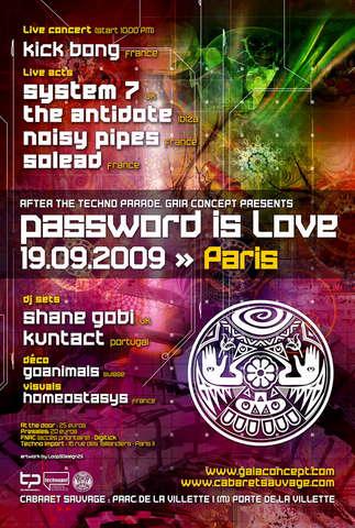 Party Flyer Password is Love - Gaia Concept - Paris 19 Sep '09, 22:00