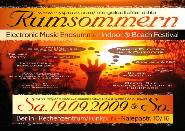 Party Flyer RUMSOMMERN electronic music endsummer indoor&beach festival 19 Sep '09, 22:00