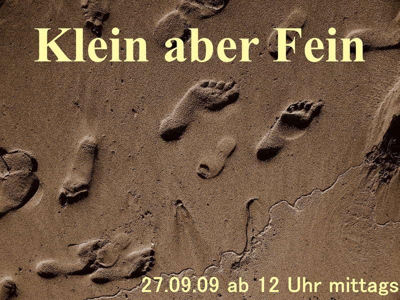 """Party Flyer """"Klein aber Fein"""" am Düsseldorfer Sandstrand 27 Sep '09, 12:00"""