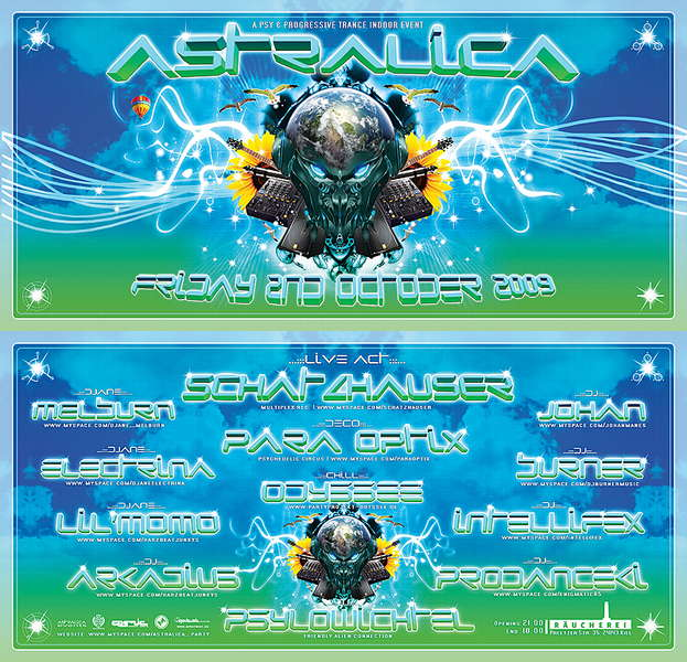 Party Flyer ★ ASTRALICA ★ Opening Party 2 Oct '09, 21:00