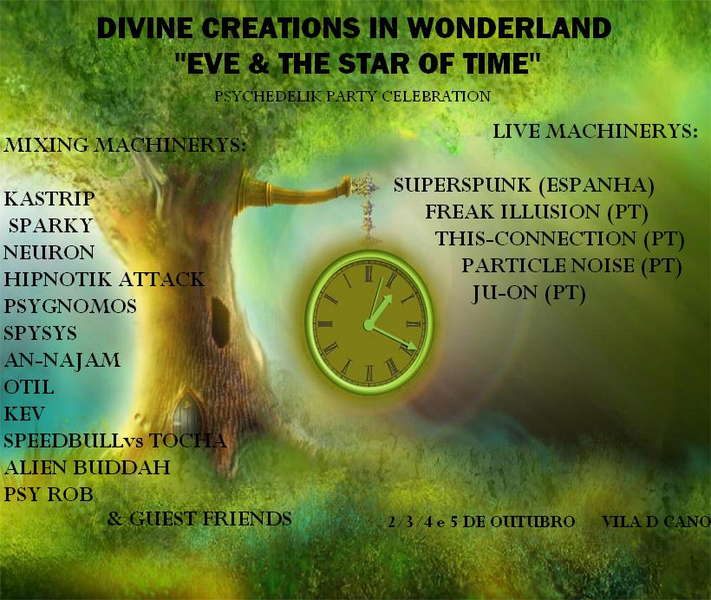 """Party Flyer DIVINE CREATIONS IN WONDER LAND""""eve & the star of time"""" 2 Oct '09, 21:00"""