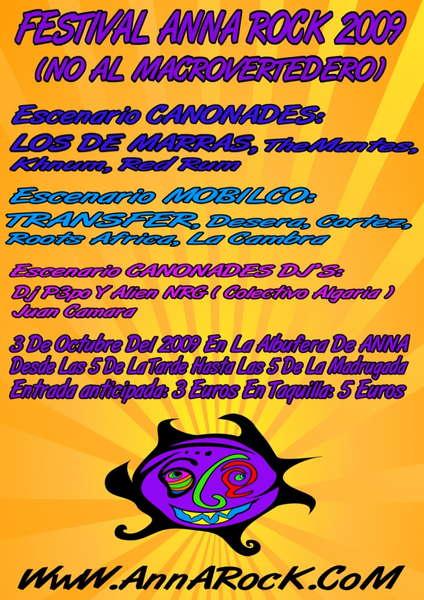 """Party Flyer AnnaRock """"NO AL MACROVERTEDERO"""" 3 Oct '09, 17:00"""