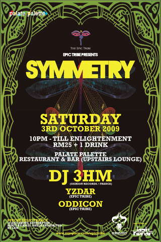 Party Flyer EPIC Tribe pres:SYMMETRY 3 Oct '09, 22:00