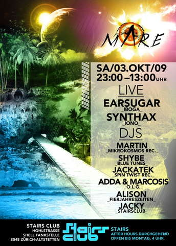 Party Flyer maRe @ Stairs Club // Earsugar, Synthax 3 Oct '09, 23:00