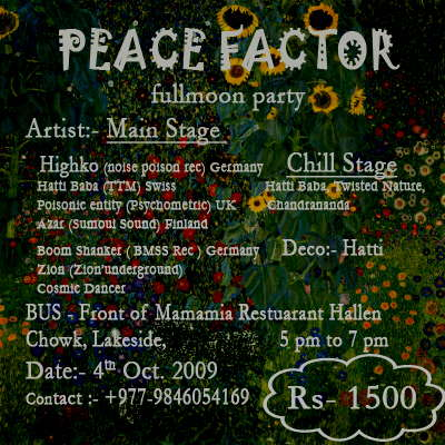 Party Flyer Peace Factor 4 Oct '09, 19:00