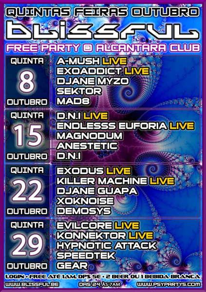 Party Flyer QUINTAS OUTUBRO = BLISSFUL FREE PARTY @ ALCANTARA CLUB 22 Oct '09, 23:30