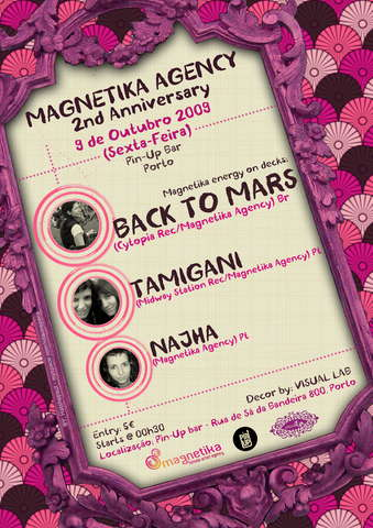 Party Flyer MAGNETIKA FEMALE ARTIST AGENCY 2nd Anniversary 9 Oct '09, 23:00