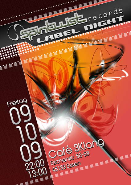 Party Flyer Spin Twist Label Night im 3Klang 9 Oct '09, 22:00