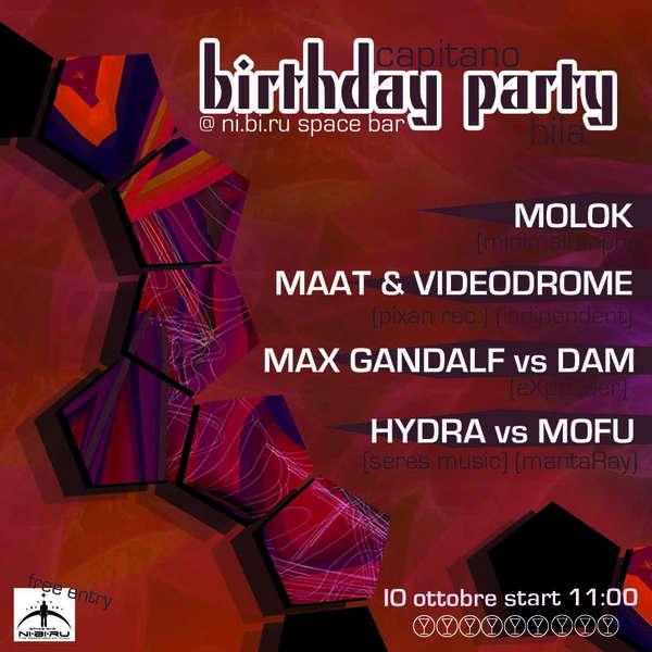 Party Flyer BIRTHDAY PARTY ::::::::: Capitano&Hila @ NI.BI.RU spacebar 10 Oct '09, 23:00
