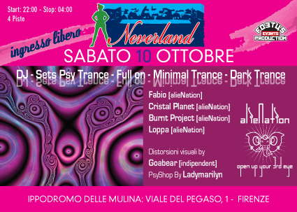Party Flyer .NEVERLAND.una notte nell'isola che non c'è!!! 4 dancefloors 10 Oct '09, 22:00