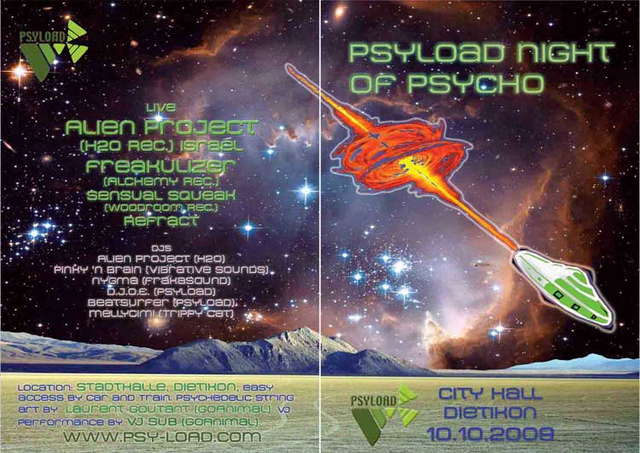 Party Flyer Psyload Night of Psycho - Alien Project (H20 Records) Live 10 Oct '09, 22:00