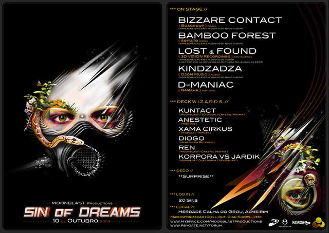 """Party Flyer \""""SIN OF DREAMS\"""" by Moonblast OPEN AIR 10 Oct '09, 23:00"""