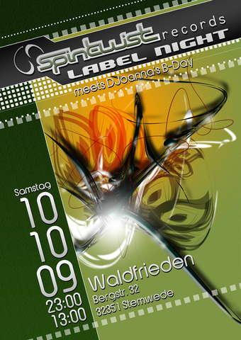 Party Flyer Waldfrieden - Spin Twist Label Night meets DJoanna`s B-Day 10 Oct '09, 23:00