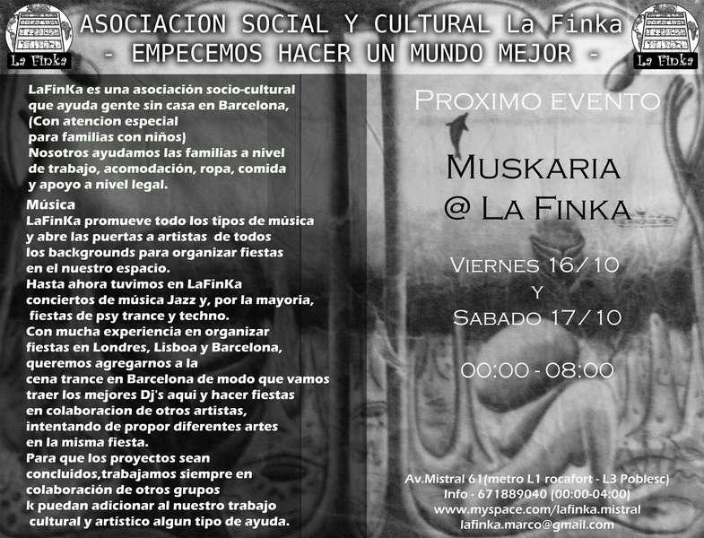 Party Flyer La Finka - Fin de semana alternativo [introducing Muskaria] 16 Oct '09, 23:30