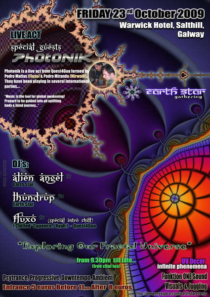 Party Flyer EARTH STAR Gathering 23 Oct '09, 21:30