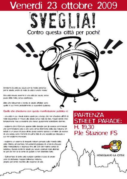 Party Flyer ..::SVEGLIA! - STREET PARADE - per le strade di BERGAMO::.. 23 Oct '09, 19:00