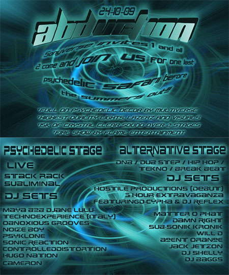 Party Flyer ABDUCTION 24 Oct '09, 22:00