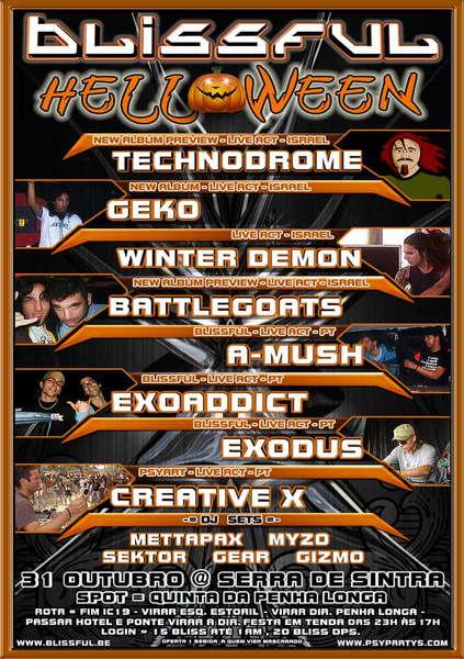 Party Flyer BLISSFUL TECHNODROME * WINTER DEMON * GEKO * BATTLEGOATS 31 Oct '09, 23:00