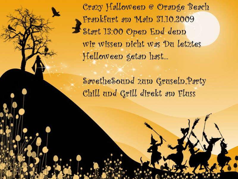 Party Flyer Crazy Halloween @ Orange Beach 31 Oct '09, 13:00