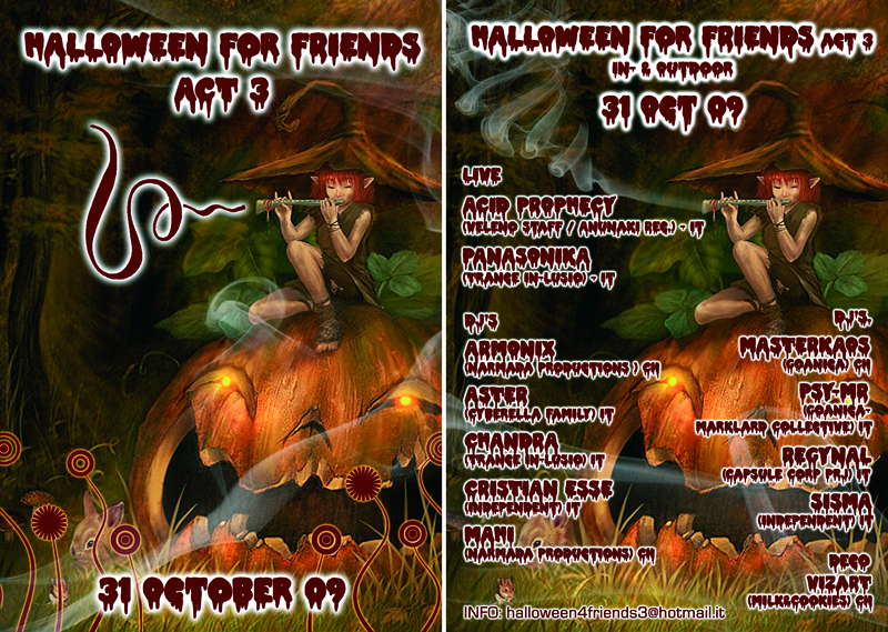 Party Flyer 3ò HALLOWEEN for FRIENDS act III 3ò 31 Oct '09, 20:00
