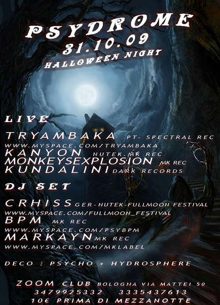 Party Flyer P S Y D R O M E Halloween psy party >>>TRYAMBAKA live<<< 31 Oct '09, 22:00