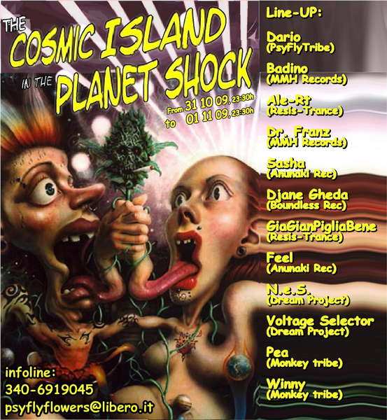 """Party Flyer \""""The Cosmic Island in the Planet Shock\"""" 31 Oct '09, 23:30"""