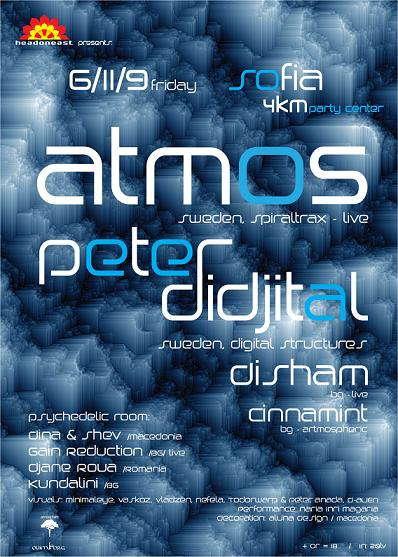 Party Flyer Atmos and Peter Didjital/Sofia,Bulgaria 6 Nov '09, 22:00