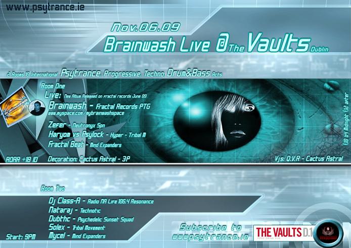 Party Flyer Brainwash Live 6 Nov '09, 21:00