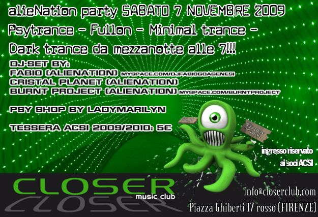 Party Flyer .:alieNation:. open up your 3rd eye 7 Nov '09, 23:30