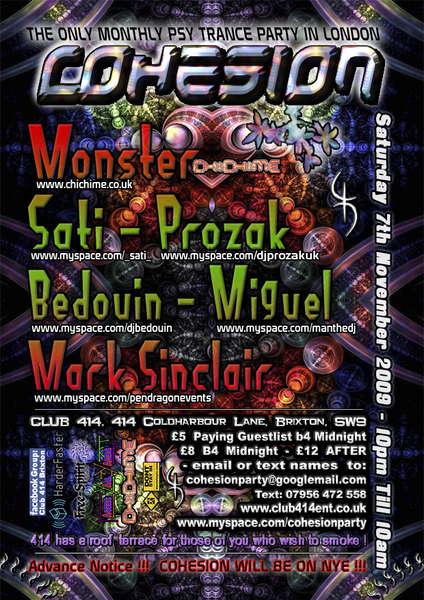 Party Flyer Cohesion Sat 7th November 09 London UK 7 Nov '09, 22:00