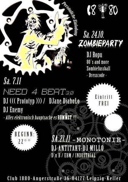"Party Flyer ""need4beat"" vol.3 7 Nov '09, 22:00"