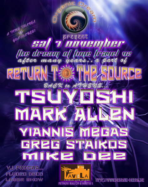 "Party Flyer *ORGANIC DREAM present ""The dream of time travel v2"" 7 Nov '09, 23:00"