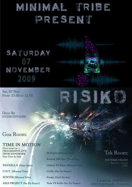 Party Flyer * R ° I * S ° I* K ° O * = VANES con NOI !! 7 Nov '09, 23:00