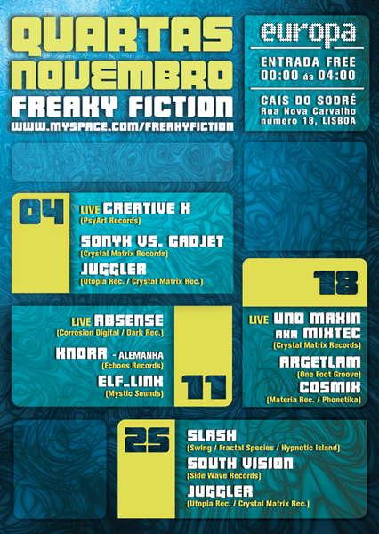 Party Flyer Freaky Fiction @ Europa 11 Nov '09, 23:30