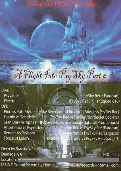 Party Flyer A FLIGHT INTO PSYSKY part6 13 Nov '09, 22:00