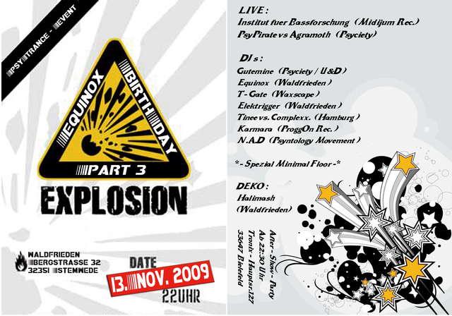 Party Flyer Equinox B-Day Explosion Part III 13 Nov '09, 22:00