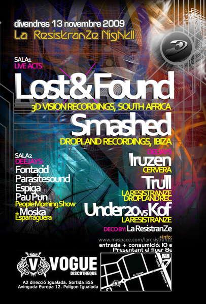 Party Flyer LOST&FOUND , La Resistranze night.2 @ Vogue club 13 Nov '09, 22:00
