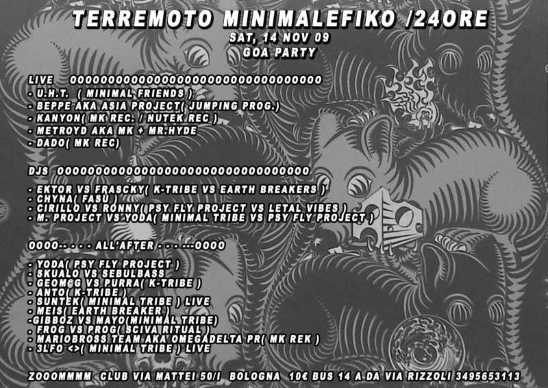 Party Flyer oOO - TERREMOTO MINIMALEFIKO /24ore/ - OOo 14 Nov '09, 23:00