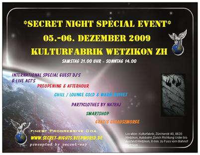 Party Flyer ***secret night special event *** 5 Dec '09, 21:00