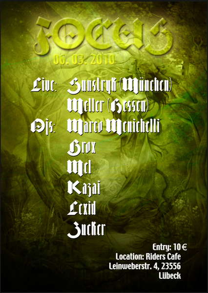 """Party Flyer FOCUS : Live> """"SUNSTRYK"""" u. """"MELLER"""" 6 Mar '10, 23:00"""