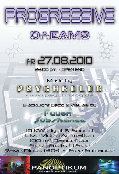 Party Flyer PROGRESSIVE DREAMS 2010 27 Aug '10, 23:00
