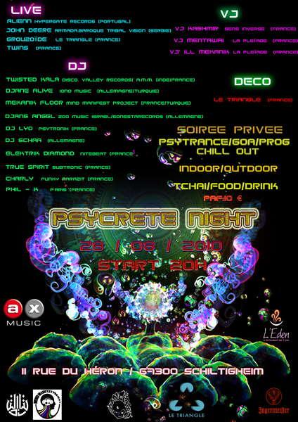 Party Flyer PSYCRETE NIGHT 18 Sep '10, 20:00