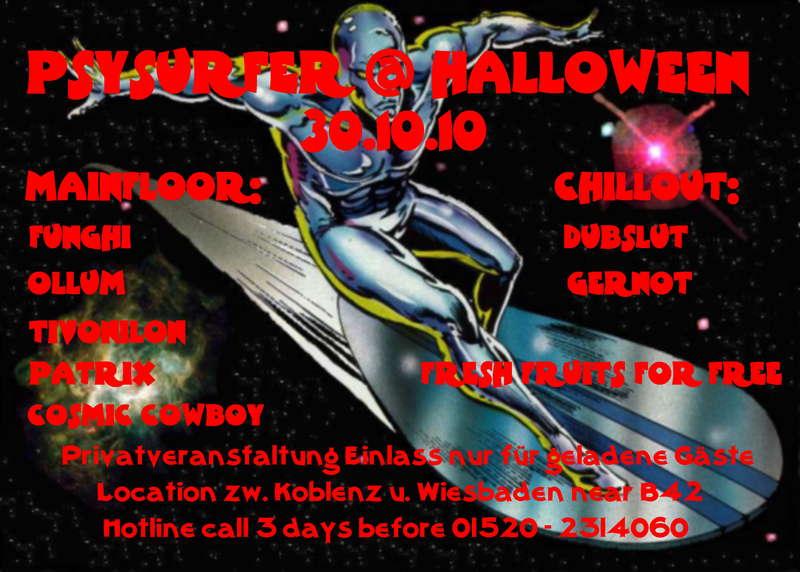 Party Flyer PSYSURFER @ HALLOWEEN 30 Oct '10, 22:00
