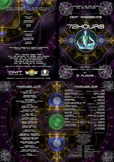Party Flyer 72 Hours (22 Live Acts & 50 Djs on 3 Floors!) 23 Dec '10, 22:00