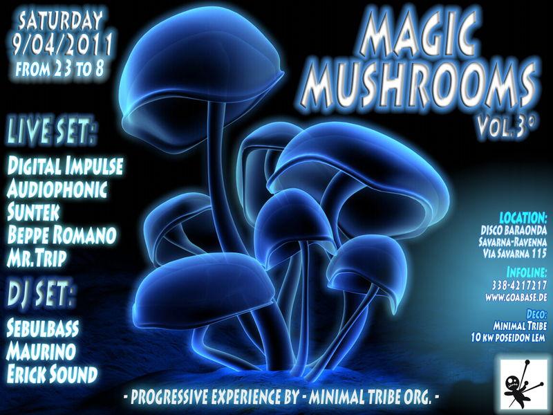 Party Flyer ૐ MAGIC MUSHROOMS ૐ Act 3° 9 Apr '11, 23:00