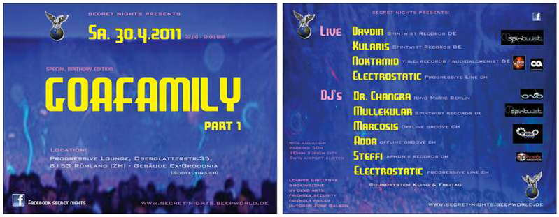 Party Flyer secret nights presents: **GOAFAMILY part 1** 30 Apr '11, 22:00