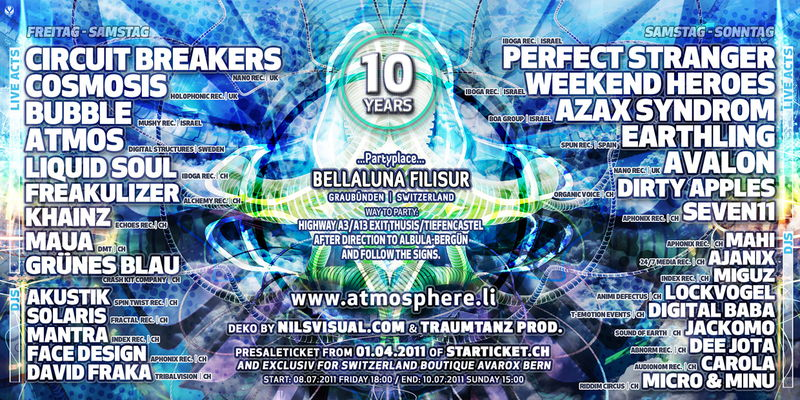 Party Flyer ATMOSPHERE-FESTIVAL 2011 Edition 10 !! 8 Jul '11, 18:00