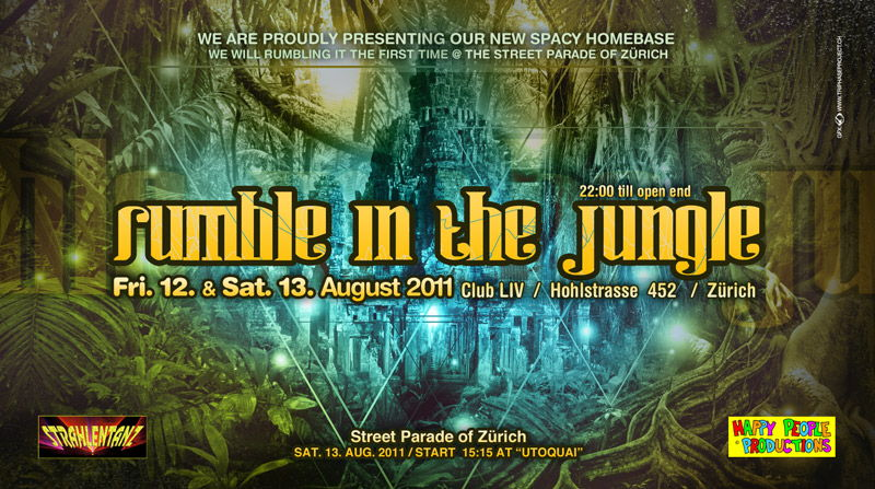 Party Flyer RUMBLE IN THE JUNGLE - STREET PARADE WARM-UP & AFTHER PARTY 12 Aug '11, 22:00