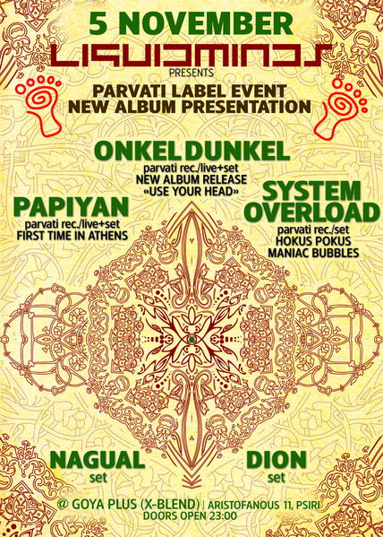 Party Flyer LIQUIDMINDS presents PARVATI LABEL&RELEASE PARTY 5 Nov '11, 23:00