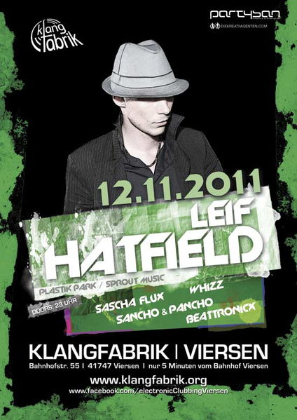 Klangfabrik presents LEIF HATFIELD 12 Nov '11, 23:00